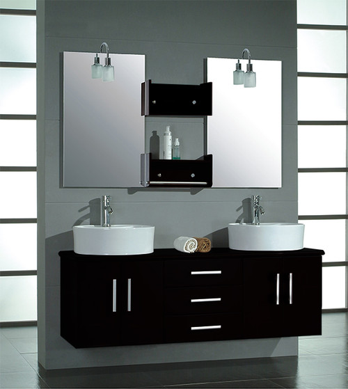 Cambridge 59 Double Bathroom Wall Mounted Wood Vanity Set With Polished Chrome Faucets