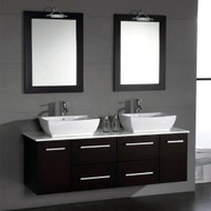 "Cambridge 63""  Solid Wood & Porcelain Double Sink Vanity Set with Brushed Nickel Faucets"