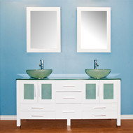 "Cambridge 63"" Solid Wood Vanity w/ Frosted Glass Counter Top and Two Vessel Sinks"