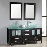 "Cambridge 71"" Solid Wood & Glass Double Vessel Sink Vanity Set with Polished Chrome Faucets"