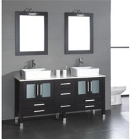 "Cambridge 71"" Wood Vanity w/ White Porcelain Counter Top and Two Vessel Sinks Polished Chrome"