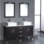 "Cambridge 60"" Solid Wood & Porcelain Double Vessel Sink Vanity Set with Brushed Nickel Facuets"