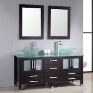 "Cambridge 63"" Solid Wood & Glass Double Vessel Sink Vanity Set with Brushed Nickel Faucets"