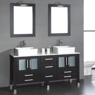 "Cambridge 63"" Solid Wood Vanity w/ Frosted Glass Counter Top and Two Vessel Sinks with Brushed Nickel Faucet"