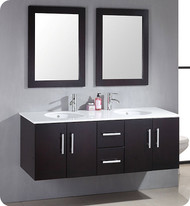 "Cambridge 59"" Wood & Porcelain Double Basin Sink Vanity Set with Brushed Nickel Faucets"