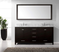 "Virtu USA Caroline Avenue 72"" Double Bathroom Vanity Cabinet Set in Espresso w/ Italian Carrara White Marble Counter-Top, Round Basin"