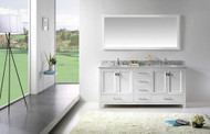 "Virtu USA Caroline Avenue 72"" Double Bathroom Vanity Cabinet Set in White w/ Italian Carrara White Marble Counter-Top, Round Basin"