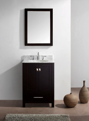 "Virtu USA Caroline Avenue 24"" Single Bathroom Vanity Cabinet Set in Espresso w/ Italian Carrara Espresso Marble Counter-Top, Round Basin"