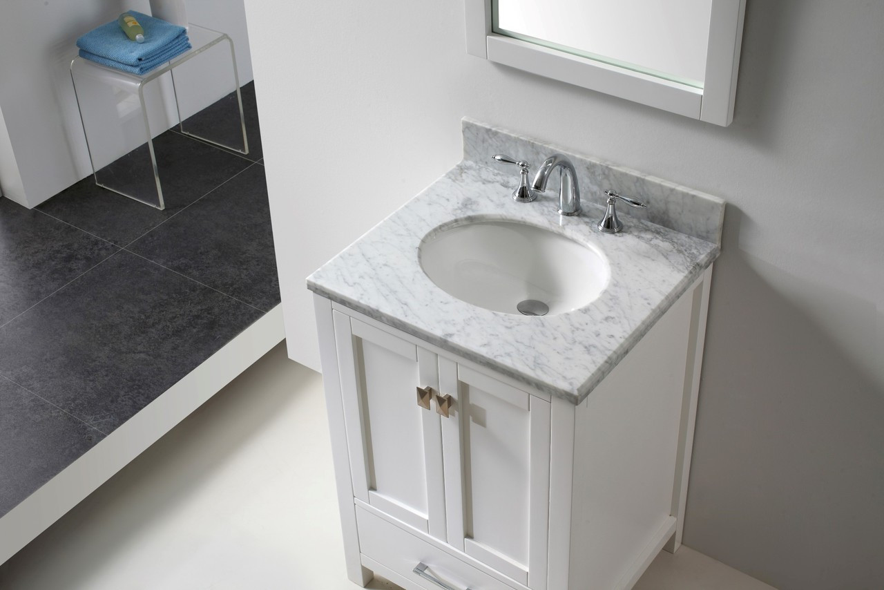 "Virtu USA Caroline Avenue 24"" Single Bathroom Vanity Cabinet Set in White w/ Italian Carrara White Marble Counter-Top 