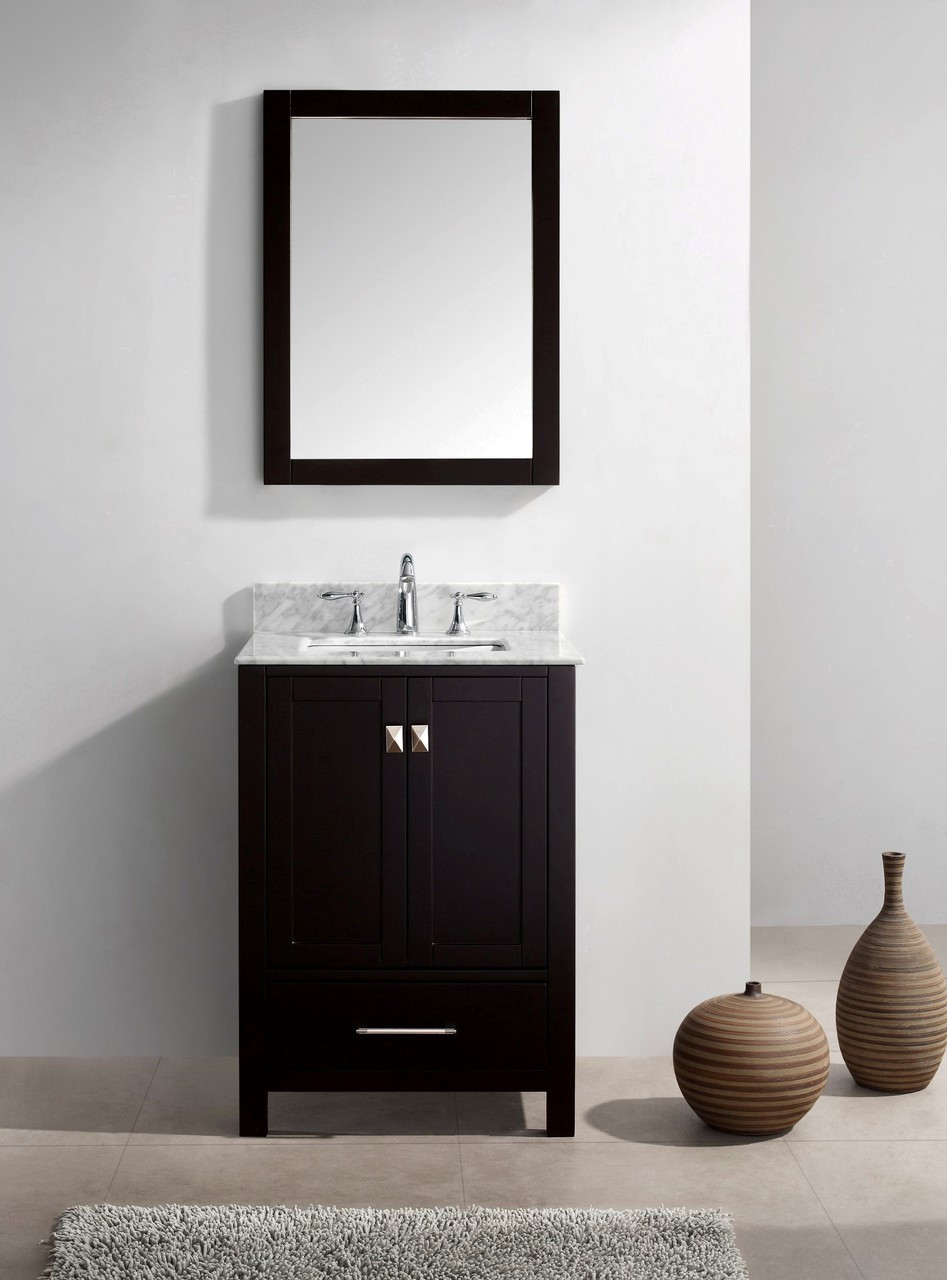 "Virtu USA Caroline Avenue 24"" Single Bathroom Vanity Cabinet Set in Espresso w/ Italian Carrara White Marble Counter-Top