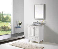 "Virtu USA Caroline Avenue 24"" Single Bathroom Vanity Cabinet Set in White w/ Italian Carrara White Marble Counter-Top"