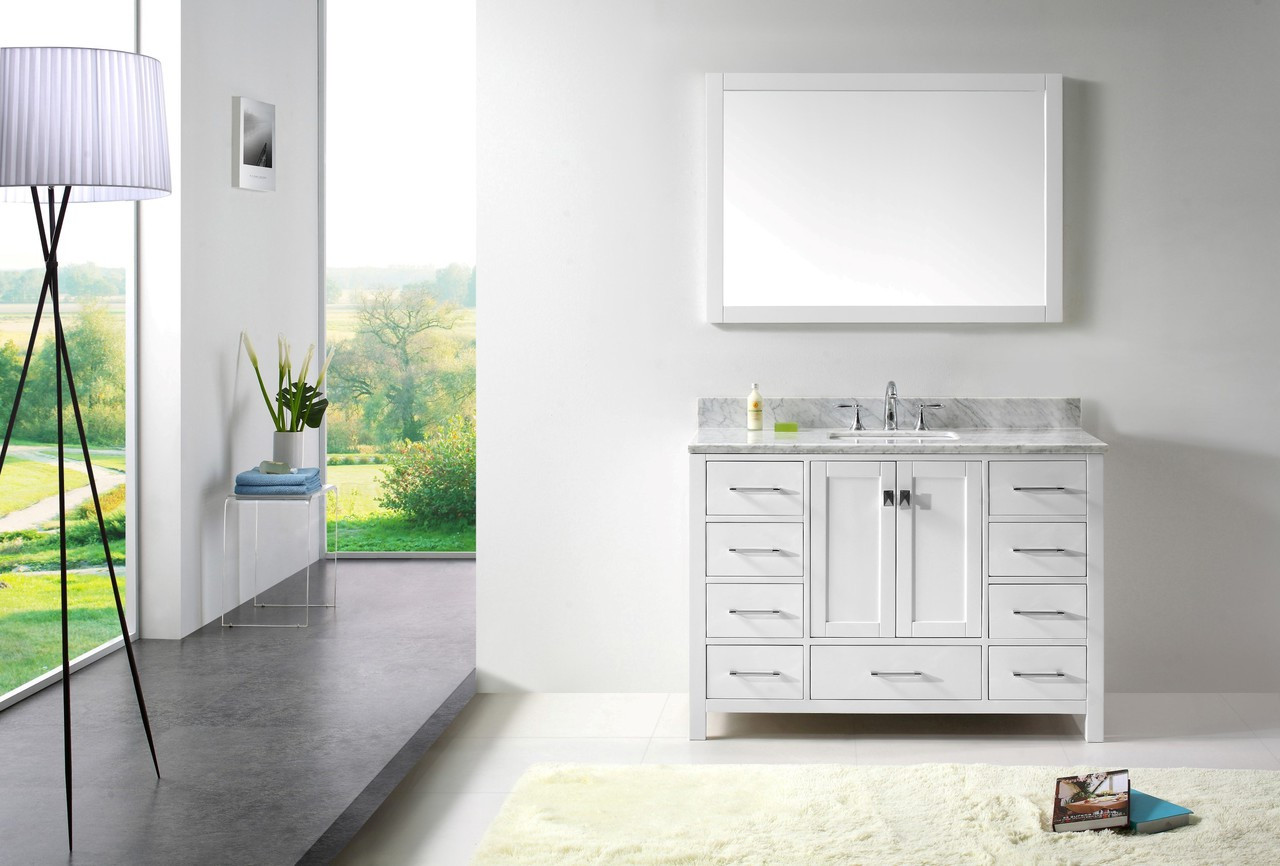 "Virtu USA Caroline Avenue 48"" Single Bathroom Vanity Cabinet Set in White w/ Italian Carrara White Marble Counter-Top
