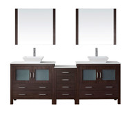 "Virtu USA Dior 90"" Double Bathroom Vanity Cabinet Set in Espresso w/ Pure White Stone Counter-Top"