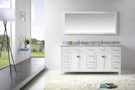 "Virtu USA Caroline Parkway 72"" Double Bathroom Vanity Cabinet Set in White w/ Italian Carrara White Marble Counter-Top, Round Basin"