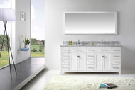 "Virtu USA Caroline Parkway 72"" Double Bathroom Vanity Cabinet Set in White w/ Italian Carrara White Marble Counter-Top"