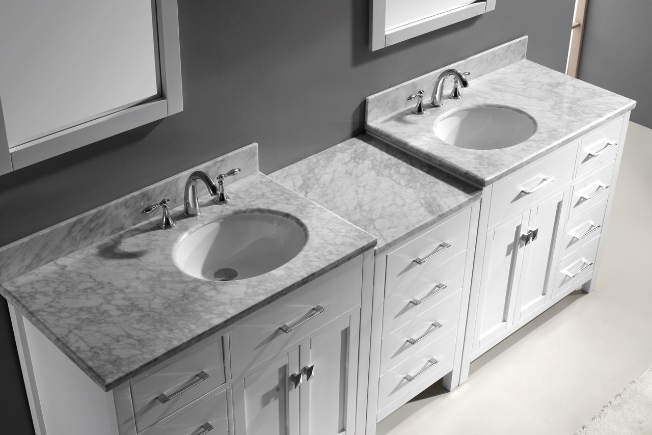"Virtu USA Caroline Parkway 93"" Double Bathroom Vanity Cabinet Set in White w/ Italian Carrara White Marble Counter-Top, Round Basin"