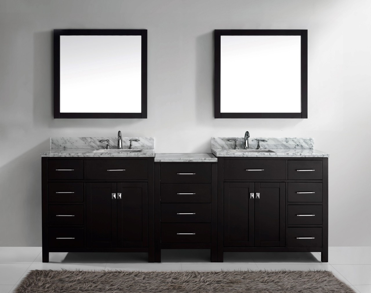 "Virtu USA Caroline Parkway 93"" Double Bathroom Vanity Cabinet Set in Espresso w/ Italian Carrara White Marble Counter-Top"