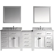 "Virtu USA Caroline Parkway 93"" Double Bathroom Vanity Cabinet Set in White w/ Italian Carrara White Marble Counter-Top"