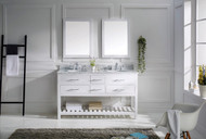 "Virtu USA Caroline Estate 60"" Double Bathroom Vanity Cabinet Set in White w/ Italian Carrara White Marble Counter-Top, Round Basin"