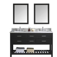 "Virtu USA Caroline Estate 60"" Double Bathroom Vanity Cabinet Set in Espresso w/ Italian Carrara White Marble Counter-Top"