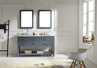 "Virtu USA Caroline Estate 60"" Double Bathroom Vanity Cabinet Set in Grey w/ Italian Carrara White Marble Counter-Top"