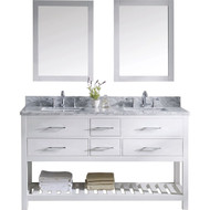 "Virtu USA Caroline Estate 60"" Double Bathroom Vanity Cabinet Set in White w/ Italian Carrara White Marble Counter-Top"