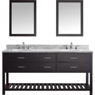"Virtu USA Caroline Estate 72"" Double Bathroom Vanity Cabinet Set in Espresso w/ Italian Carrara White Marble Counter-Top"