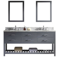 "Virtu USA Caroline Estate 72"" Double Bathroom Vanity Cabinet Set in Grey"