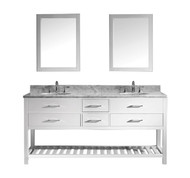 "Virtu USA Caroline Estate 72"" Double Bathroom Vanity Cabinet Set in White w/ Italian Carrara White Marble Counter-Top, Round Basin"