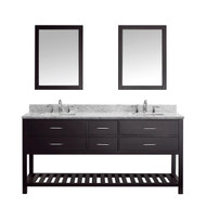 "Virtu USA Caroline Estate 72"" Double Bathroom Vanity Set in Espresso w/ Italian Carrara White Marble Counter-Top"