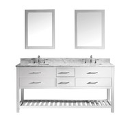 "Virtu USA Caroline Estate 72"" Double Bathroom Vanity Set in White w/ Italian Carrara White Marble Counter-Top 