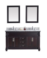 "Virtu USA Victoria 60"" Double Bathroom Vanity Cabinet Set in Espresso w/ Italian Carrara White Marble Counter-Top, Round Basin"