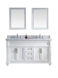 "Virtu USA Victoria 60"" Double Bathroom Vanity Cabinet Set in White w/ Italian Carrara White Marble Counter-Top, Round Basin"