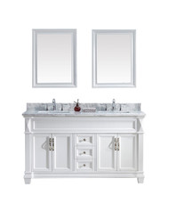 "Virtu USA Victoria 60"" Double Bathroom Vanity Cabinet Set in White w/ Italian Carrara White Marble Counter-Top"