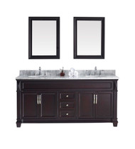 "Virtu USA Victoria 72"" Double Bathroom Vanity Cabinet Set in Espresso w/ Italian Carrara White Marble Counter-Top, Round Basin"