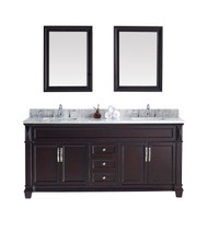 "Virtu USA Victoria 72"" Double Bathroom Vanity Cabinet Set in Espresso w/ Italian Carrara White Marble Counter-Top"
