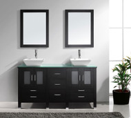 "Virtu USA Bradford 60"" Double Bathroom Vanity Cabinet Set in Espresso w/ Tempered Glass Counter-Top"