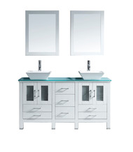"Virtu USA Bradford 60"" Double Bathroom Vanity Cabinet Set in White w/ Tempered Glass Counter-Top"