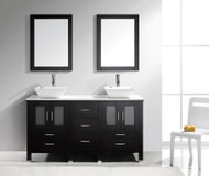 "Virtu USA Bradford 60"" Double Bathroom Vanity Cabinet Set in Espresso w/ White Artificial Stone Counter-Top"