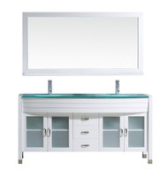 "Virtu USA Ava 63"" Double Bathroom Vanity Cabinet Set in White w/ Tempered Glass Counter-Top"