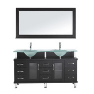 "Virtu USA Vincente Rocco 59"" Double Bathroom Vanity Cabinet Set in Espresso w/ Frosted Tempered Glass Counter-Top"