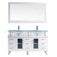 "irtu USA Vincente Rocco 59"" Double Bathroom Vanity Set in White w/ Frosted Tempered Glass Counter-Top 