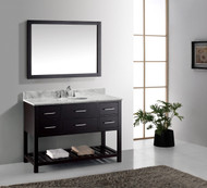 "Virtu USA Caroline Estate 48"" Single Bathroom Vanity Cabinet Set in Espresso w/ Italian Carrara White Marble Counter-Top, Round Basin"