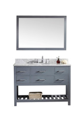 "Virtu USA Caroline Estate 48"" Single Bathroom Vanity Cabinet Set in Grey w/ Italian Carrara White Marble Counter-Top, Round Basin"