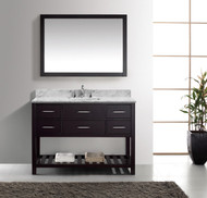 "Virtu USA Caroline Estate 48"" Single Bathroom Vanity Cabinet Set in Espresso w/ Italian Carrara White Marble Counter-Top"