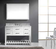 "Virtu USA Caroline Estate 48"" Single Bathroom Vanity Cabinet Set in White w/ Italian Carrara White Marble Counter-Top"