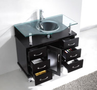"Virtu USA Vincente 36"" Single Bathroom Vanity Cabinet in Espresso w/ Tempered Glass Counter-Top"