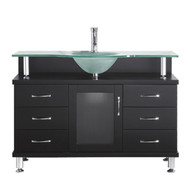 "Virtu USA Vincente 48"" Single Bathroom Vanity in Espresso w/ Frosted Tempered Glass Counter-Top"