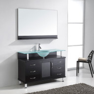"""Virtu USA Vincente 48"""" Single Bathroom Vanity Cabinet in Espresso w/ Frosted Tempered Glass Counter-Top"""