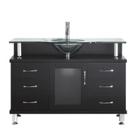 "Virtu USA Vincente 48"" Single Bathroom Vanity Cabinet in Espresso w/ Tempered Glass Counter-Top"